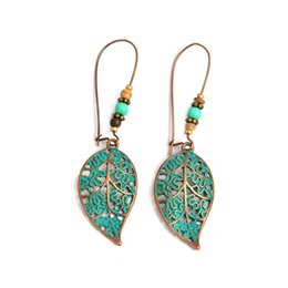 Discount blue leaves earrings - retro hollow blue leaves Earring for Women bead leaf Korean Hollow simple Earring maxi statement fashion stud for women