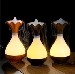 Großhandel NEU! Holz Vase Jade Flasche Führte Luftbefeuchter Aroma Air Diffusor Luftreiniger Zerstäuber ätherisches Öl Diffusor Zerstäubung für zu Hause
