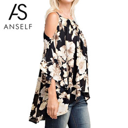 001f29c8cd0 Boho Floral Print Off Shoulder Blouses Women Plus Size 3XL 4XL 5XL Shirts 3  4 Flare Sleeves Casual 2018 Summer Beach Tops female Y1891302