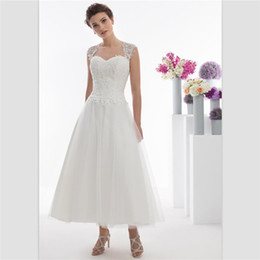 5c6bec3f3bcd White Organza A Line Wedding Dresses 2018 Simple Lace Bridal Dresses Tea  Length Bridal Gowns Custom Cap Sleeve Hollow Short Wedding Gowns