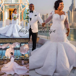 beads sparkle wedding dresses NZ - Gorgeous South Africa Wedding Dress Sparkle Sequins Beads Lace Applique Long Sleeve Plus Size Mermaid Ruffles Skirt Castle Wedding Dress