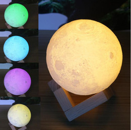 usb decorations NZ - LED 3D Moon table lamps creative decoration lights with touch telecontrol mode Usb Color Changeable Desk Lights KKA4146
