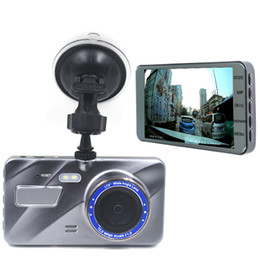 "motion detection mirror camera UK - Popular car DVR driving recorder camera digital video dashcam 4"" IPS screen full HD 1080P 2Ch double lens 170 degrees WDR motion detection"
