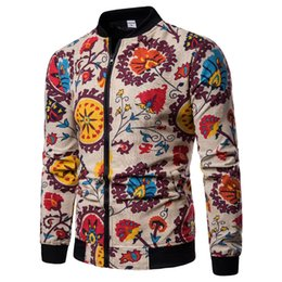 $enCountryForm.capitalKeyWord NZ - Autumn 2018 New Fashion Chinese national style Men's Jacket Flower Print Bomber zipper Jacket men's linen Casual Top