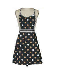 polka dots apron UK - Black Polka dot printing Cotton cooking apron