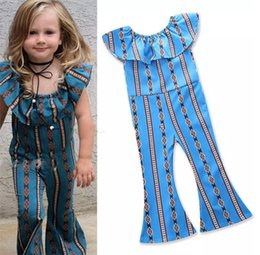 Discount flared jumpsuits - Baby Lotus leaf collar stripes romper girls Jumpsuits Cotton children Flare pants kids Boutique clothing B11