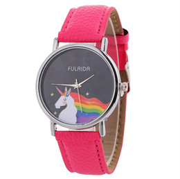 pink color watches UK - Neutral girl boy watch time leather circle dial fashion cute watch rainbow unicorn student watch child first gift hand clock
