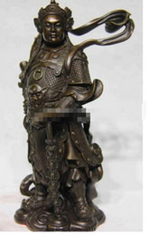 Antique Warriors UK - Chinese Folk Famous Figure Copper Bronze WeiTuo Wei Tuo Warrior Buddha Statue