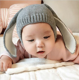 Knit bunny hat online shopping - Winter Baby Rabbit Ears cap Knitted Hat Infant bunny Caps For Children T Girl Boys hats Photography Props infant warm beanie