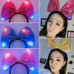 Headbands Bow Australia - 100pcs Creative fashion sequined bow headband LED light bow hairpin headband concert party headdress glow toy gift