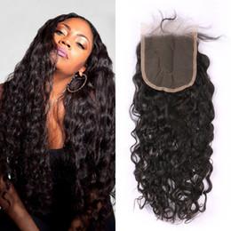 virgin hair bleached knot closure 2019 - Free Part Virgin Hair Lace Closure 5*5inch Bleached Knots Brazilian Water Wave Human Hair Closures Baby Hair G-EASY disc