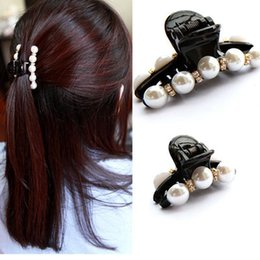 $enCountryForm.capitalKeyWord Canada - 1pcs Hair Clip Black Claw Clip Crystal Pearl Plastics For Women Baby Party Festival Rhinestone Hairpin 2 Sizes Accessories