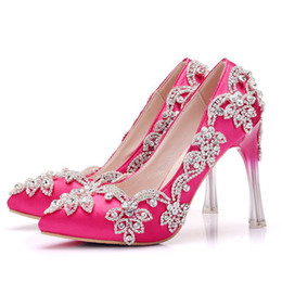 Flowered Evening Shoes UK - Strange Style Heel Crystal Wedding Party Shoes Pointed Toe Fuchsia Satin Material Banquet Shoes Evening Party Prom Pumps Size 41