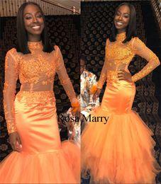 $enCountryForm.capitalKeyWord Australia - Sexy Orange Mermaid 2K18 Prom Dresses Vintage Lace Long Sleeves Plus Size Black Girls African Arabic Girls 2019 Pageant Formal Evening Gowns