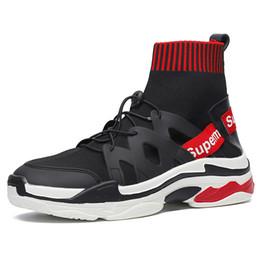 Brand High Board Shoes UK - Genuine shoes tide brand hip hop shoes men's tide white high-top sneakers summer Korean socks shoe trend board shoes wild socks shoe