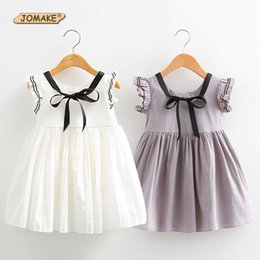 $enCountryForm.capitalKeyWord Canada - Girls Dress 2017 Fashion Preppy Style Sleeveless Dress With Bow Girl Infant Baby Lovely Costume For Kids Toddler Girl Clothing