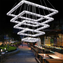 light fixtures for high ceilings 2019 - Square Crystal LED Ceiling Light Crystal Stair Pendant Light for Hotel, Hallway, Villa High Quality Mounted Crystal Fixt