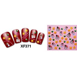 Diamond Nail Art Decals NZ - Red Christmas 3D Santas Three-dimensional diamond Bear Mixed Designs DIY Sticker Transfer Nail Art Stickers Nails Decals S6