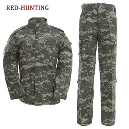 Discount army combat uniform 112 5000 US Army Multi-camera ACU Combat Uniform Jacket Pants Outdoor Hunting Hiking Top Pants cool men