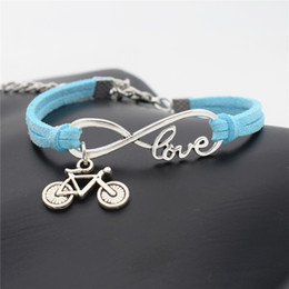 cycle pendant Australia - New Vintage Infinity Love Bike Cycling Bicycle Charm Pendant Bracelets For Women Men Blue Leather Suede Rope Handmade Bohemian Jewelry Gifts