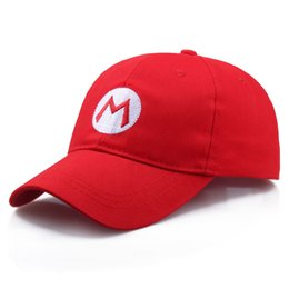 Cosplay Mario Red Australia - Super Mario Bros Adult Kids Costume Hat Anime Cosplay Red Mario Cap Letter Adjustable Casual Unisex Baseball Caps