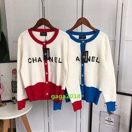 1832ca5fcd55b Suéter jacquard de las mujeres chaqueta de punto chaqueta de punto de  algodón de lana de punto camisa superior blusa suéter con mangas largas  carta Diseño ...