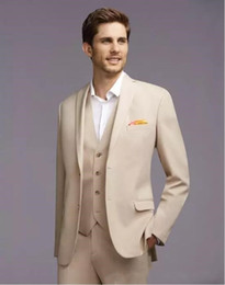 cream suit jacket men NZ - The Latest Fashion of Cream-colored Groom Wedding Suit (jacket + pants + + vest) Suits For best Man Customized Danceing Tuxedos