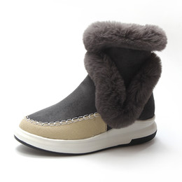 Discount open toed booties women - MCCKLE Plush Warm Platform Snow Boots For Women Winter Casual Flock Women's Ankle Boots Ladies Patchwork Wedge Heel