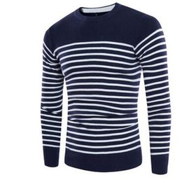 Spring Men Knitted Sweaters O-Neck Jumper Men s Cotton Pullover Knitting  White Black Navy Grey Striped Sweater Brand Clothing a6d00dfa2