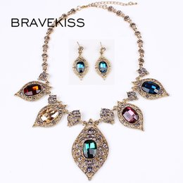 Discount women party clothing - BRAVEKISS New Fashion Wild Gold Bridal Vintage Jewelry Color Crystal Earrings Necklace Set Women Clothing Accessories BP