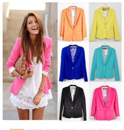 $enCountryForm.capitalKeyWord NZ - Women Suit Blazer Foldable Brand Jacket Made Of Cotton & Spandex With Lining Vogue Candy Colors Blazers Free ShippingA7995