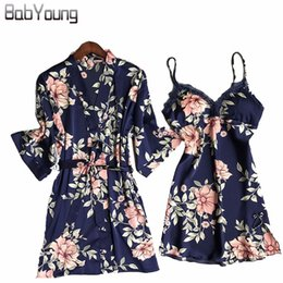 BabYoung Autumn Pajamas Robes Set Flower Silk Sexy Lingerie Twinset Women  Nightwear Camisole Bathrobe Dress Sleep Wear Dark Blue de62ec59d