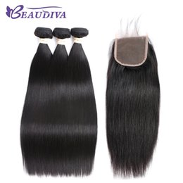 Beaudiva Hair Pre-colored Brazilian Hair Straight 3 Bundles 100% Human Bundle With Closure Nature Color Free Shipping on Sale