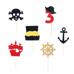 $enCountryForm.capitalKeyWord NZ - glitter custom number Pirate Ship birthday Gender Reveal cupcake toppers Christening wedding baby shower doughnut food picks