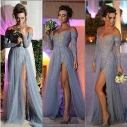 $enCountryForm.capitalKeyWord Australia - 2018 New Fashion Long Sleeves Dresses Party Evening A Line Off Shoulder High Slit Vintage Lace Grey Prom Dresses Long Chiffon Formal Gowns