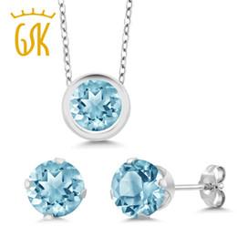 8adce9b36ba4e4 GemStoneKing 3.00 Ct Natural Blue Topaz Wedding Jewelry Sets For Women  Solid 925 Sterling Silver Pendant Earrings Set