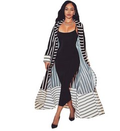 China 2018 Women Long Cardigan Formal Turn Down Collar Open Front Striped Cardigan Ladies Long Sleeve Trench Coat with Sashes DW636 supplier ladies long white trench coat suppliers