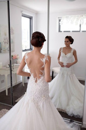 $enCountryForm.capitalKeyWord Canada - 2018 New Lace Mermaid Wedding Dresses Sleeveless Sheer Neck Scoop Sweep Strain Tull Applique Wedding Gowns Bridal Dress Custom Made
