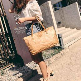 $enCountryForm.capitalKeyWord Canada - Women Retro Kraft Paper Casual Tote Wrinkled Zipper Shopping Shoulder Bags kraft hadnbags shopping bag big casual tote