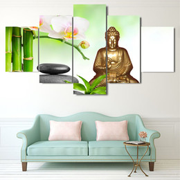 $enCountryForm.capitalKeyWord Canada - Modern Painting Decoration HD Printed Posters On Canvas 5 Panel Copper Buddha Modular Picture Home Frame Wall Art Living Room