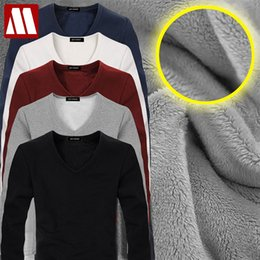 $enCountryForm.capitalKeyWord NZ - 2017 High Quality Autumn Winter Mens Warm Thermal tshirt Man Long Sleeve Casual V Neck Velvet Thick Plus Thick T-Shirt Male Tees