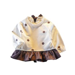 Wholesale Children Autumn Long Sleeve Baby Infants Girls Kids Printed Dot Polka Ruffles Patchwork Party Princess Tutu Dress Vestidos S7098