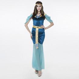 Chinese  Egyptian goddess long skirt Halloween Cosplay costume female game uniforms Blue Slimming Neck ring skirt gloves Indian Roman Egypt manufacturers
