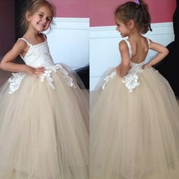 flowers for ivory wedding dress Australia - Real Photos 2018 Ivory Lace Top Champagne Tulle Ball Gown Flower Girls Dresses For Wedding Cheap Backless Girls Pageant Gowns Custom EN1053