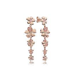 $enCountryForm.capitalKeyWord Canada - New 100% 925 Sterling Silver Genuine Cherry Blossom Tassel Charm Gem Rose Gold Earrings Original Fashion Women Jewelry