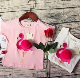 White Short Sleeve Faux Fur Australia - INS Kids flamingos embroideryT-shirt girls faux fur pompon applique princess tops children round collar short sleeve cartoon Tees F1994