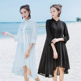 Black chiffon tunic dress online shopping - Beach Sarongs Bathing Suit Swimsuit Beach Cover Ups Swimwear Women Long Cardigan Chiffon Blouse Shirt Beach Dress Tunic