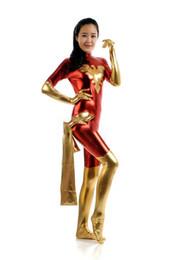 China Gold And Red Tights Unisex Cheap Super Girl Fetish Phoenix Suits Superhero Catsuit Halloween Costume supplier phoenix halloween costumes suppliers