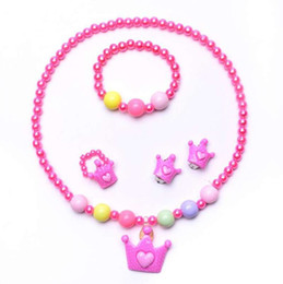 $enCountryForm.capitalKeyWord Australia - Crown Children's Necklace Jewelry Set Chain Kids and Girls Imitation Pearl Set Jewelry