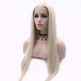 Brown Blond Hair Australia - Long Straight Wig Platinum blond Synthetic Lace Front Wigs Heat Resistant Fiber Hair Natural Hairline For Women Wigs